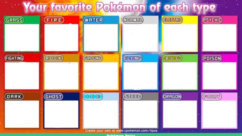 Favorite Pokemon Of Each Type Template | Pokémon Amino