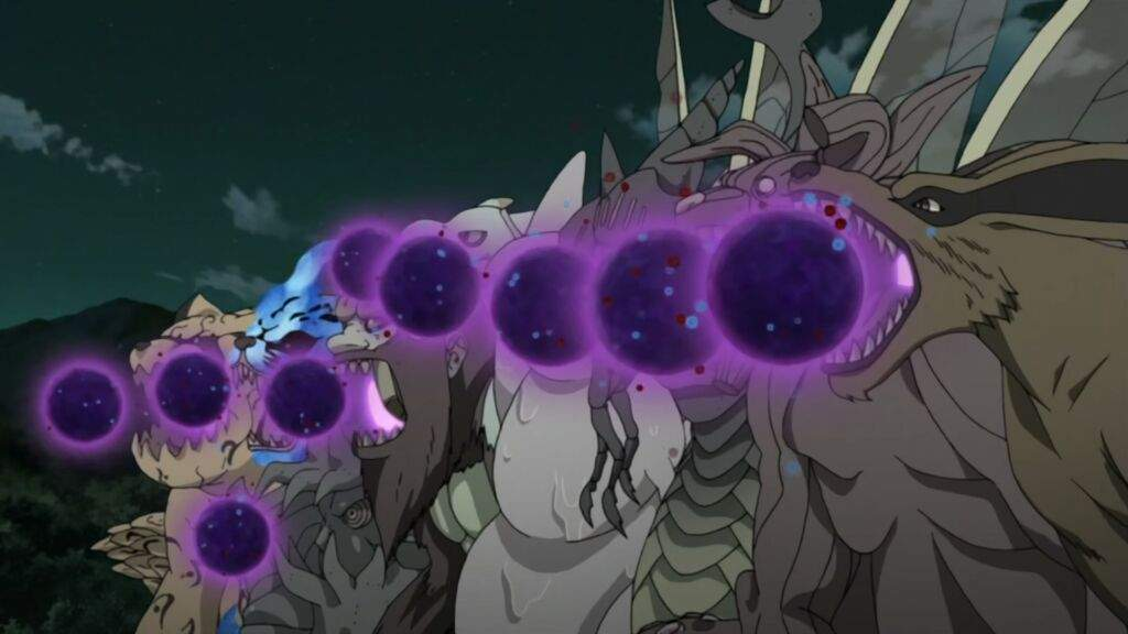 All Tailed Beasts doing tailed beast bomb on Gedo Statue ...