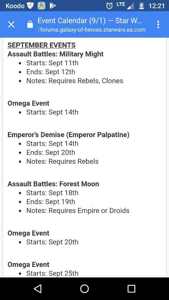 Swgoh Events Calendar.Swgoh September Events Calendar Star Wars Amino