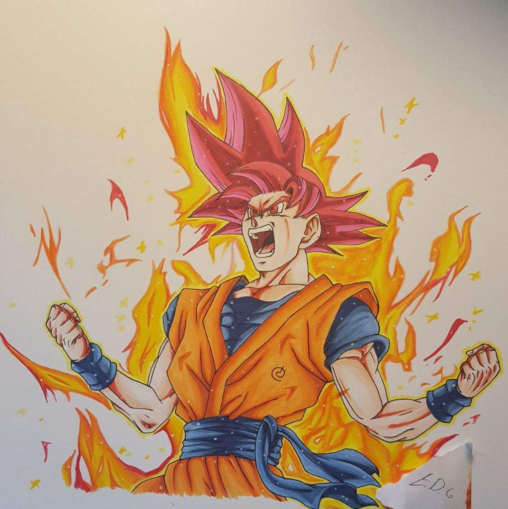Super Saiyan God Goku Drawing Tournament Entry