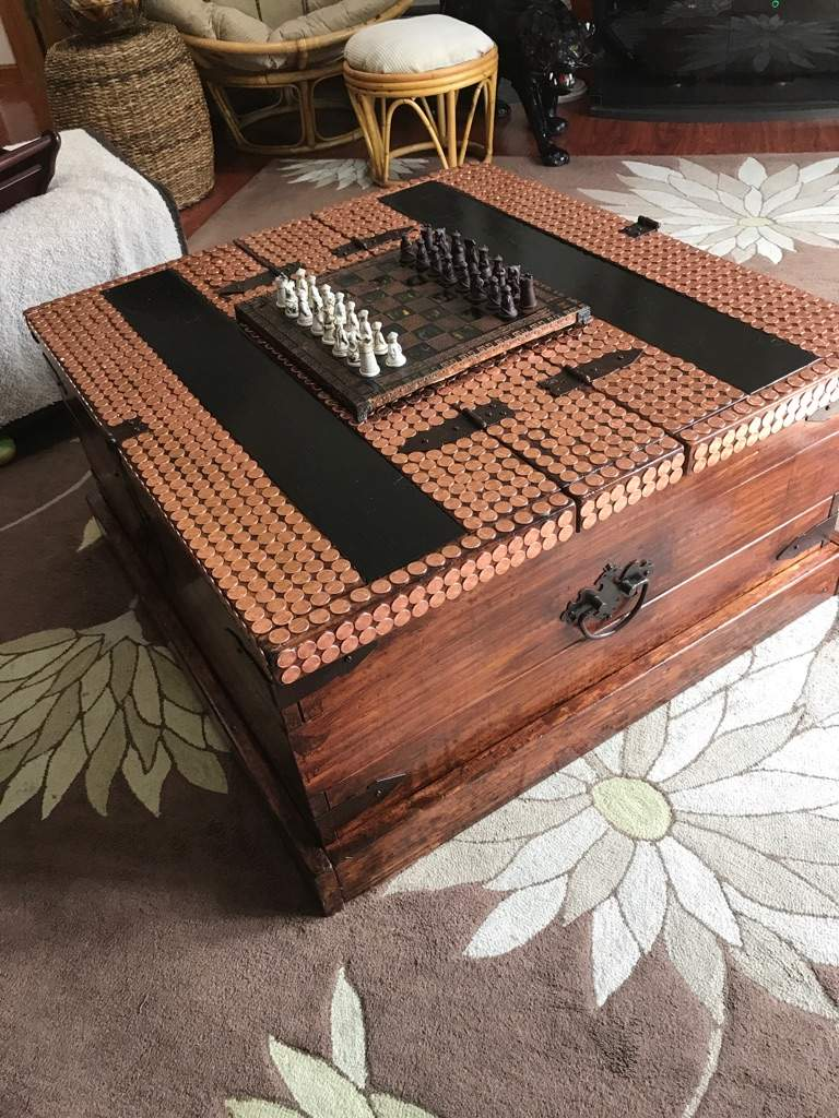 Redo A Old Chest And Side Tables With Pennies