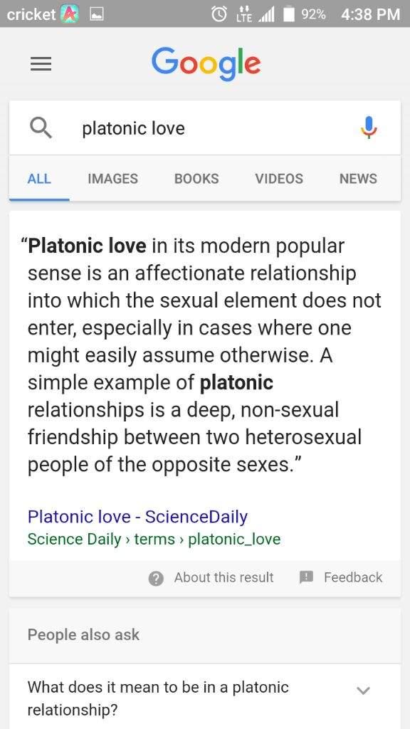 Define platonic love