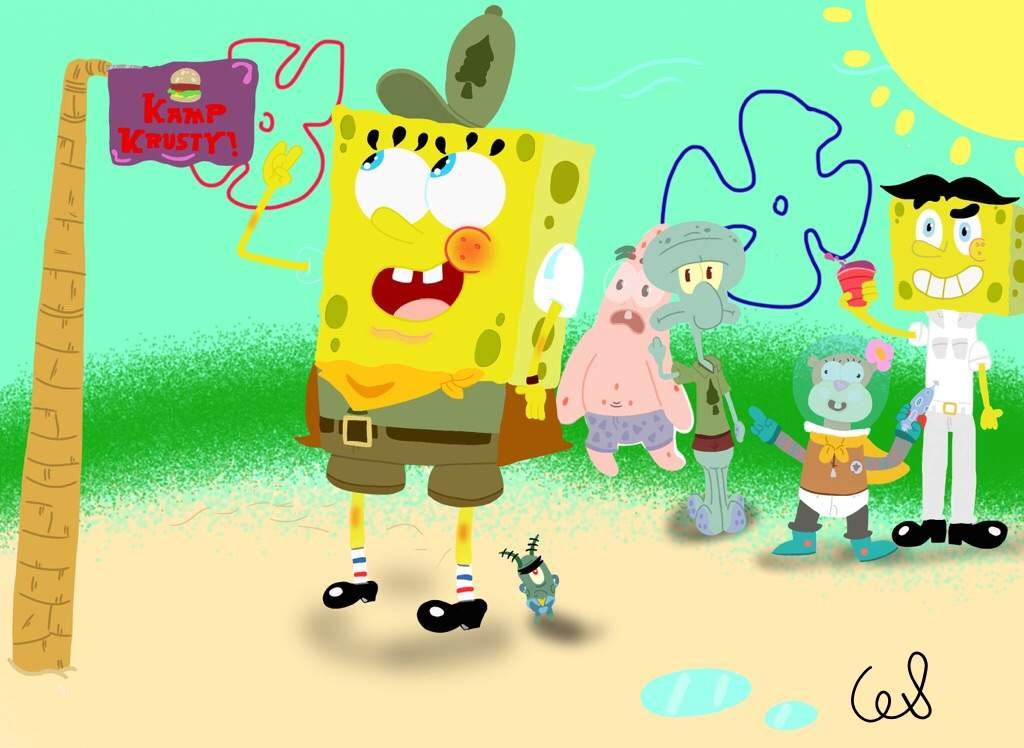 Spongebob camping cartoon