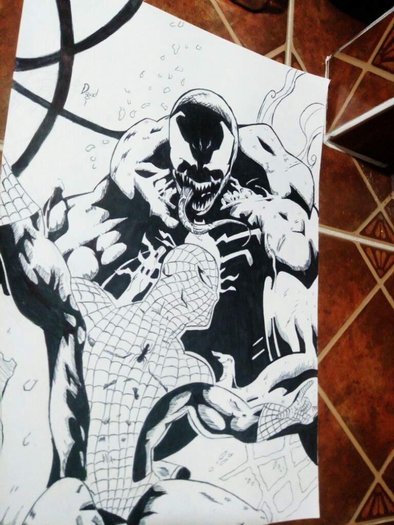 Spiderman vs venom dibujo a tinta | DibujArte Amino