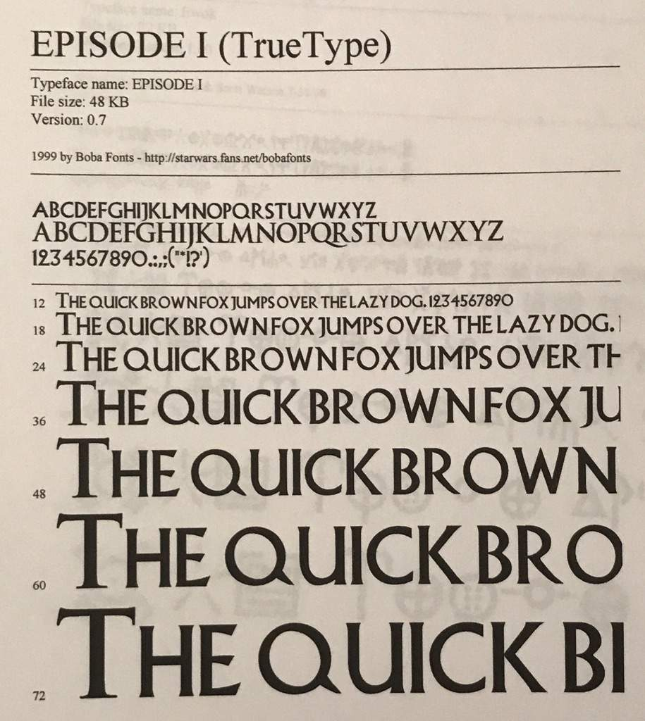 episode i 48kb this is the font used on posters for prequel trilogy episodes 1 3 interestingly the letter o in the font seems to be a bit oblique