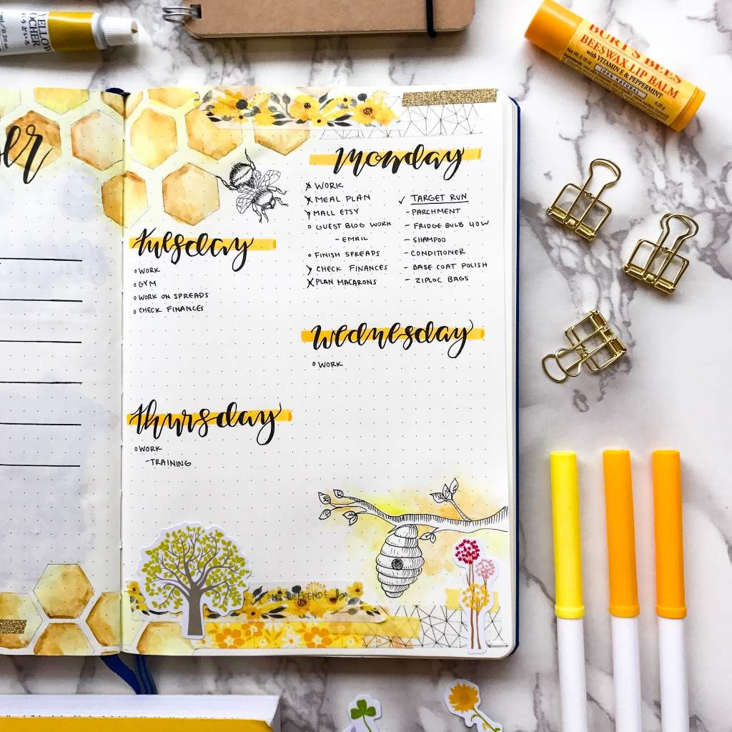 Bee Bujo ~ 20+ images beautiful bullet journal bee theme layouts ...