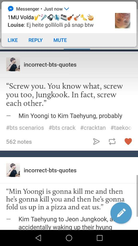 Even more vkook tumblr posts I found in my bts photo album