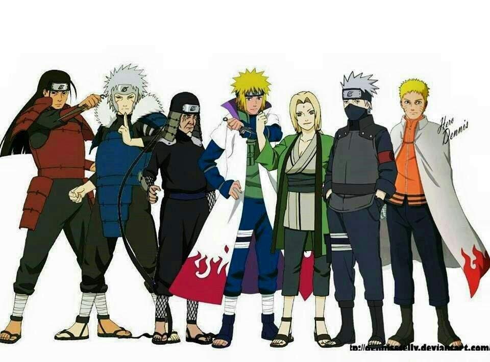 All 7 Hokage! 1 Hashirama 2 Tobirama 3 Hiruzen 4 Minato 5 Tsunade 6 Kakashi  7 Naruto   Naruto Amino