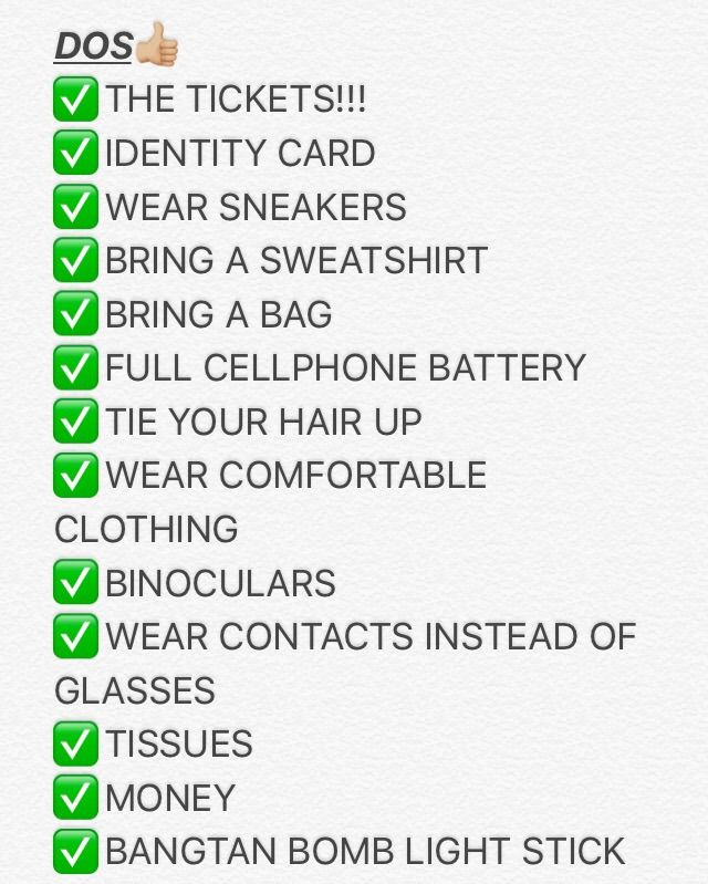 the ultimate checklist for a BTS concert ~ dos and don'ts