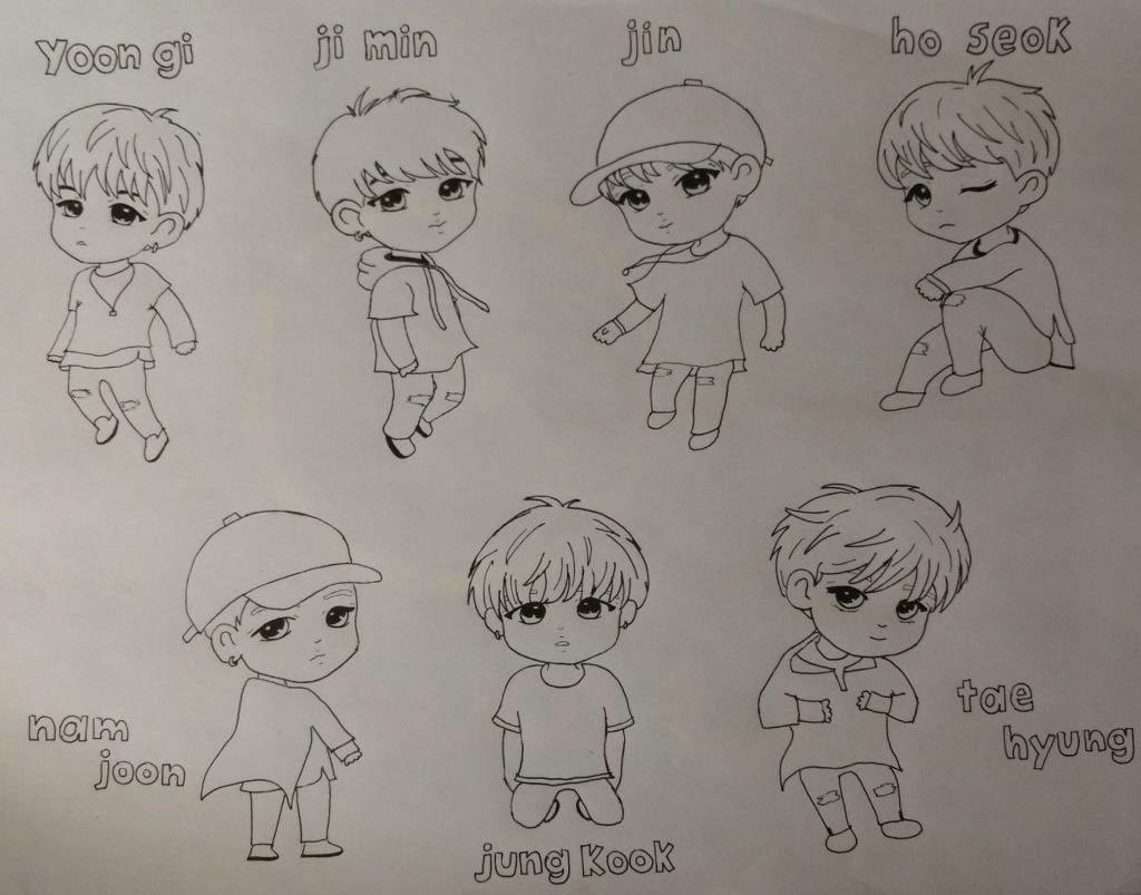 Resultado De Imagen Para Bts Anime Chibi Dibujo T BTS