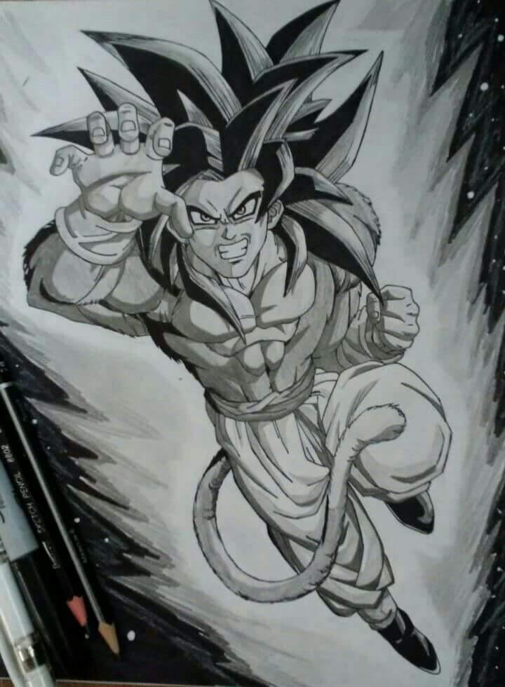 Goku Ssj4 Hecho Con Un Lapiz 2 H B Y Un Lapiz 5b Para Dibujar