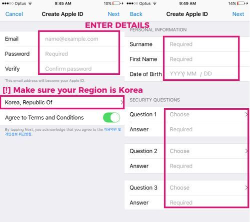3 enter details accordingly make sure you have changed your region to korea
