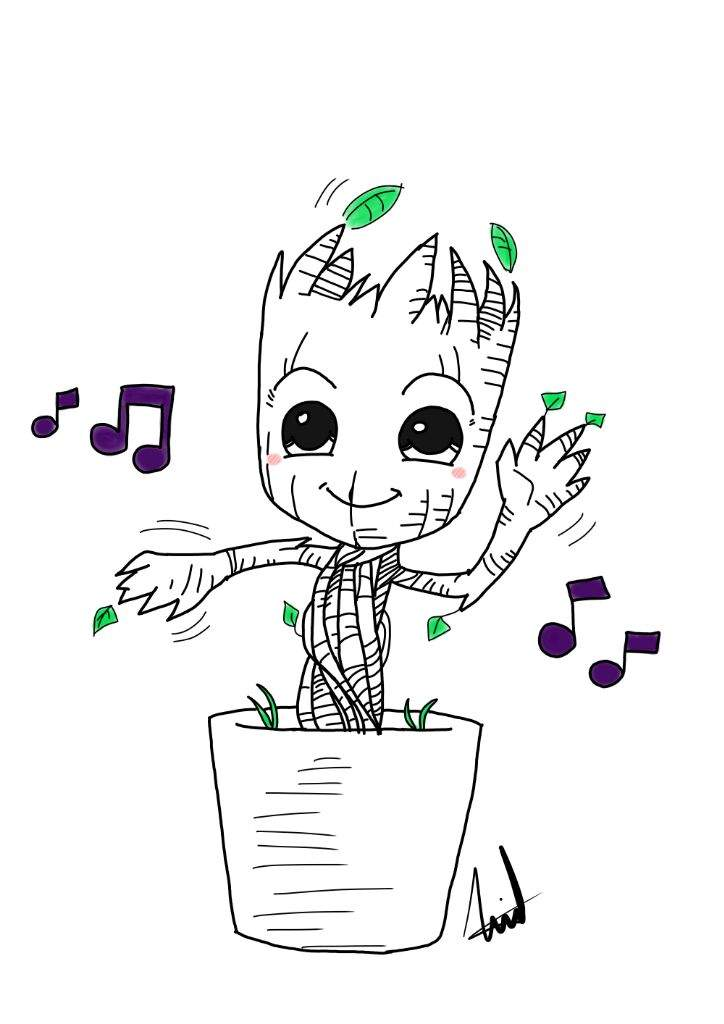 Baby Groot Drawing Marvel Amino