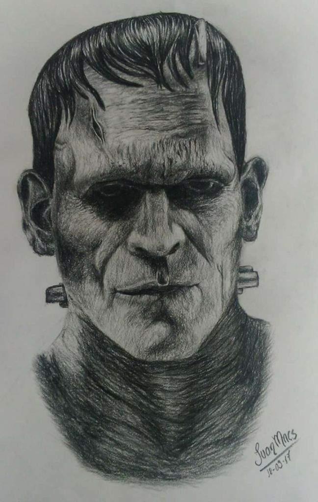Frankenstein Dibujo A Lapiz Carboncillo Dibujarte Amino
