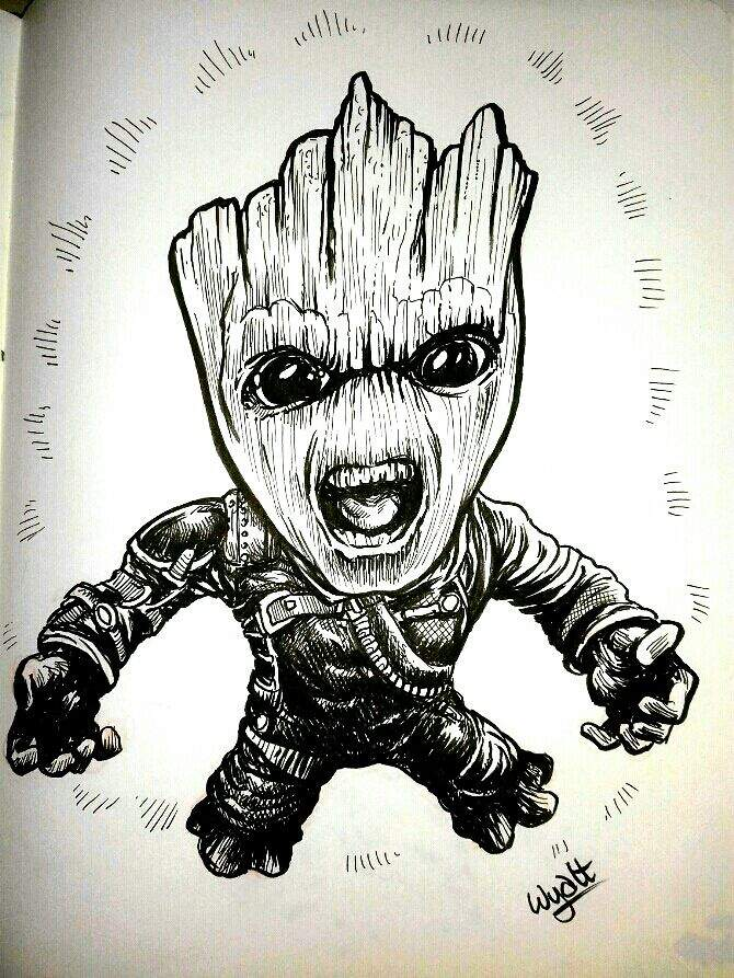 Inktober2017 Fierce Baby Groot Art Amino