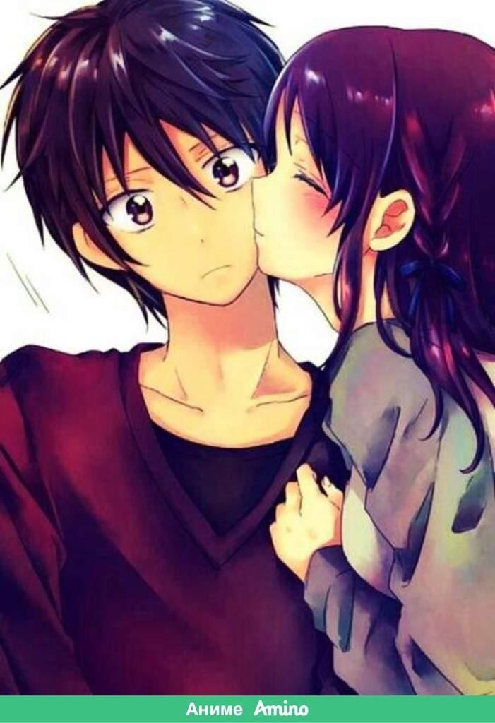Картинки аниме поцелуй в щеку