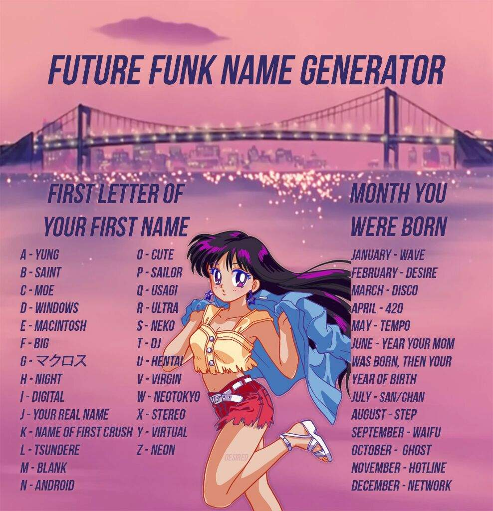 new future funk name generator created by desired vaporwave amino