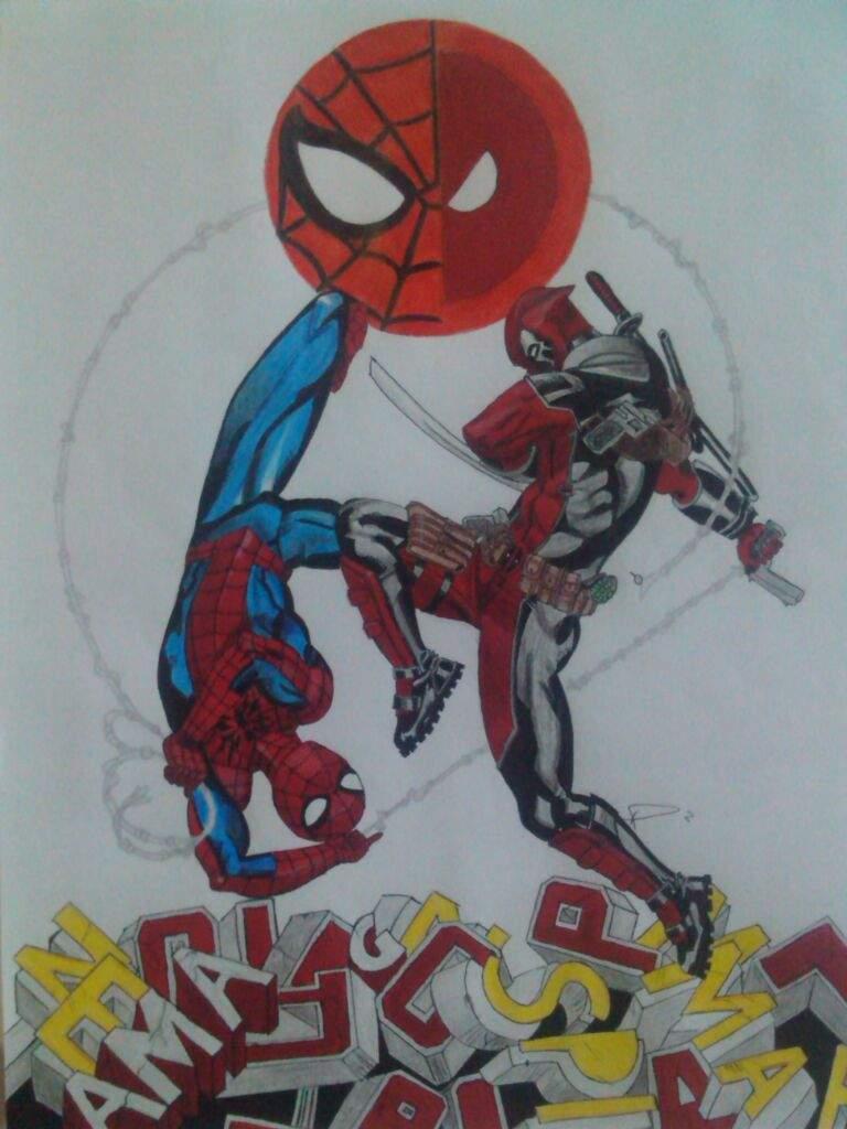 Mi Dibujo De Deadpool Vs Spiderman Conocer Gente Amino