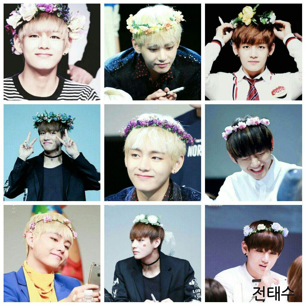 Taehyung So Cute With These Flower Crown Armys Amino