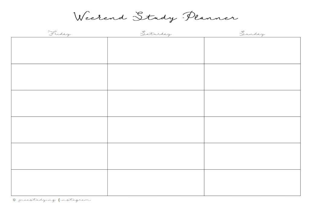 printables weekend study planner monthly planner studying amino