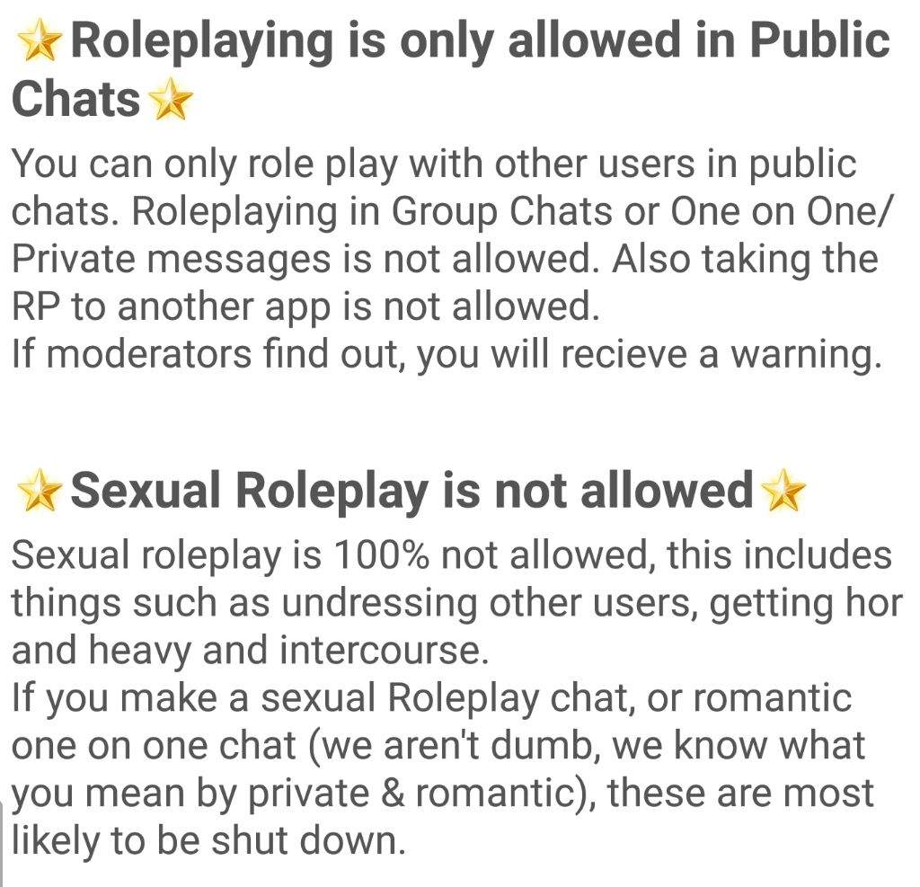 Sexual roleplay chat