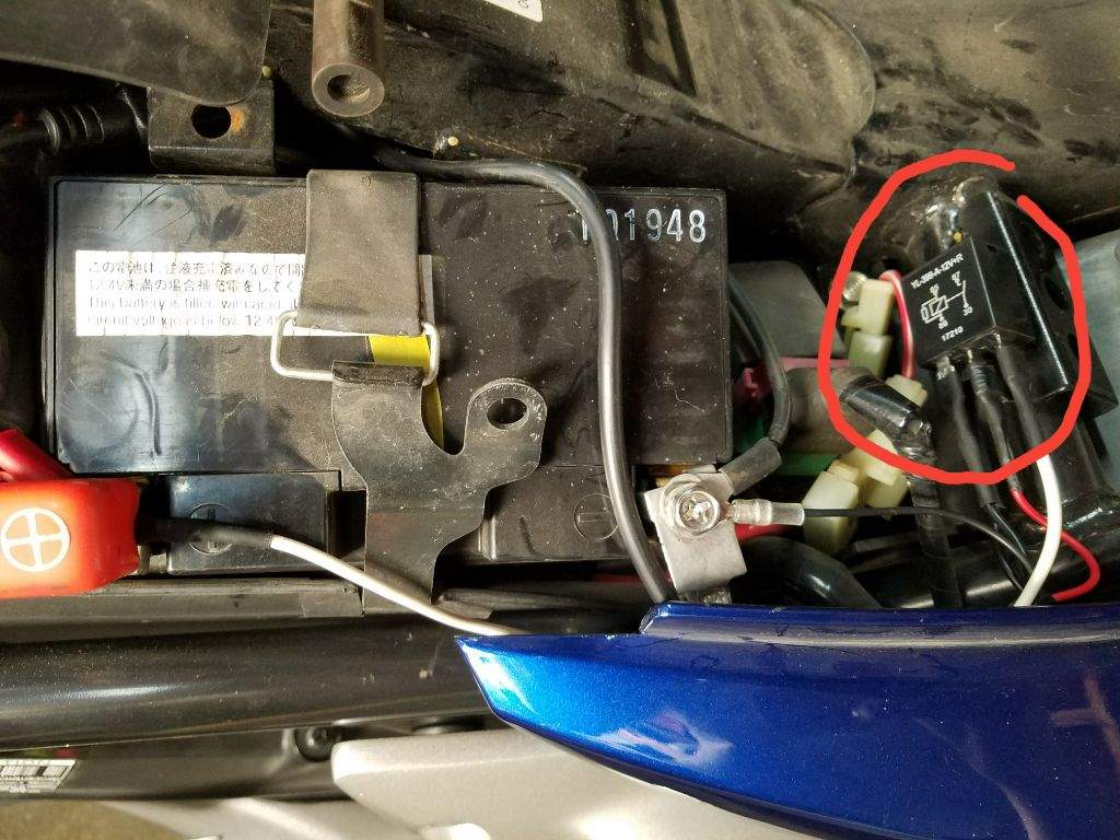 The Proper Way To Direct Wire Heated Grips Motorcycle Amino Wiring Diagram Honda Grom Connect Two Battery Terminal Leads And Mount Relay In A Sensible Location