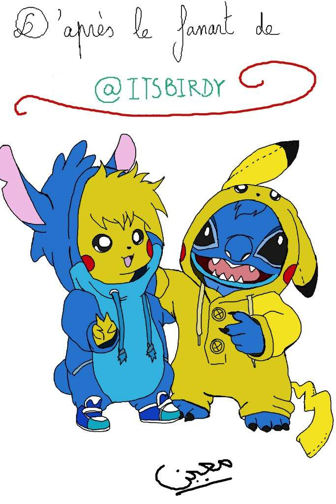 My Digital Drawing Of Pikachu And Stitch From Itsbirdy S Fanart