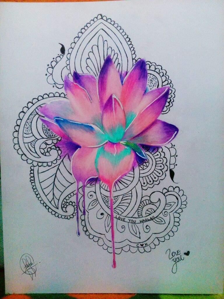 Flor De Loto Con Mandalas Dibujarte Amino