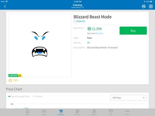 Cheapest Roblox Limited Face S Blizzard Beast Mode Roblox Jockeyunderwars Com