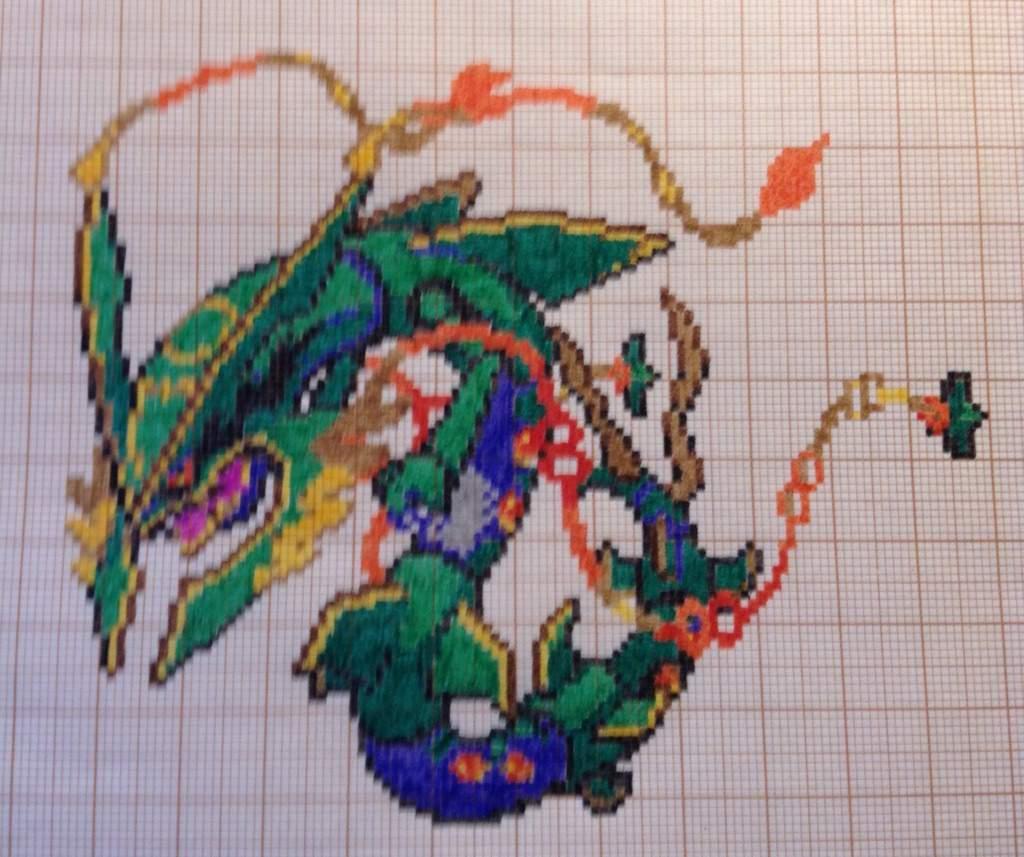 Finished Mega Rayquaza Pixel Art Nintendo Amino