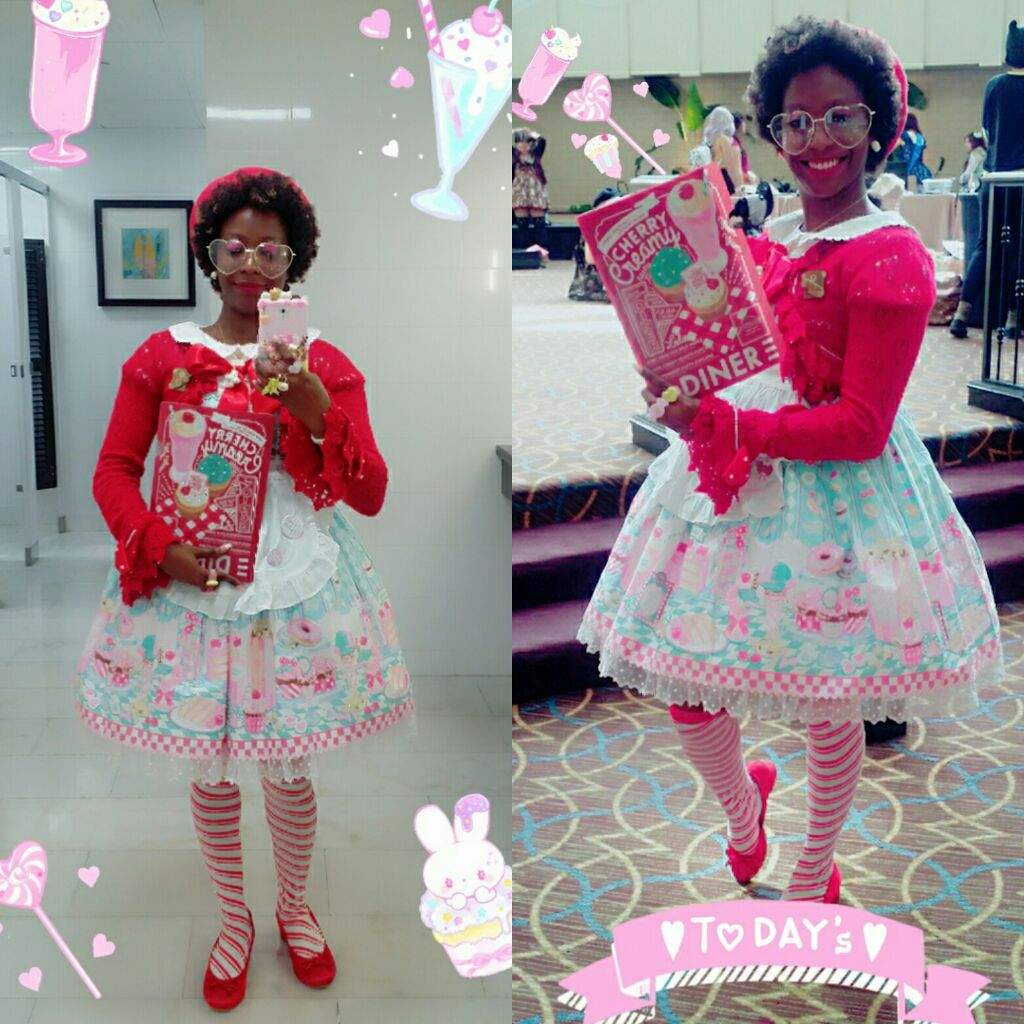f5e526a4bfe1 First outfit for RuffleCon I think it turned out pretty awesome. I love  Angelic Pretty's mint Diner Doll op with the red striped and red cropped  sweater.