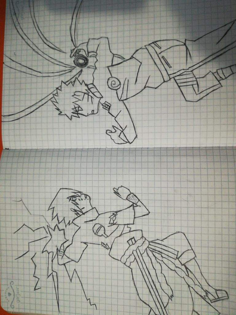 Naruto vs sasuke drawing