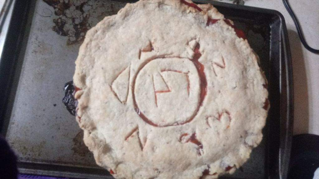I Made A Angel Warding Sigil On A Cherry Pie For Thanksgiving