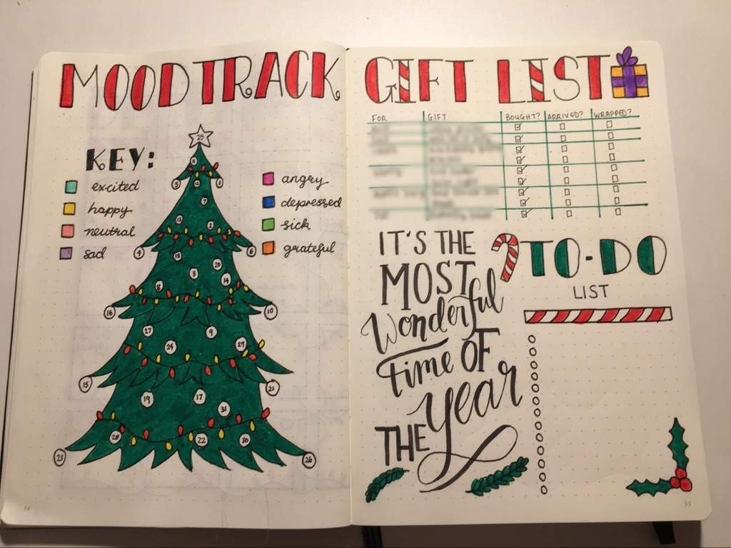 I also had a spare page and decided to fill it with a Christmas gift list, quote and a to-do list.