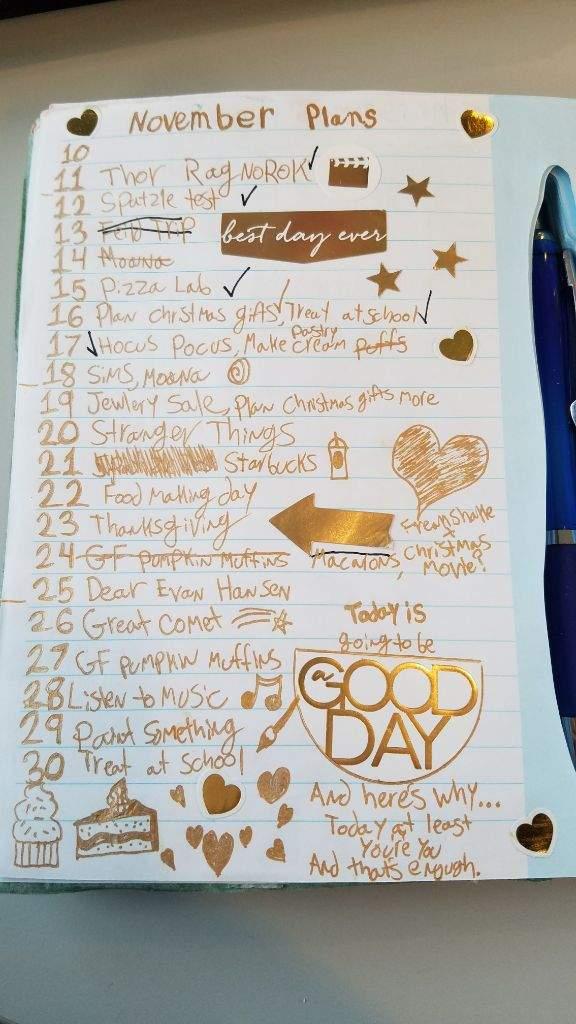 November Bucket List Bullet Journal Amino