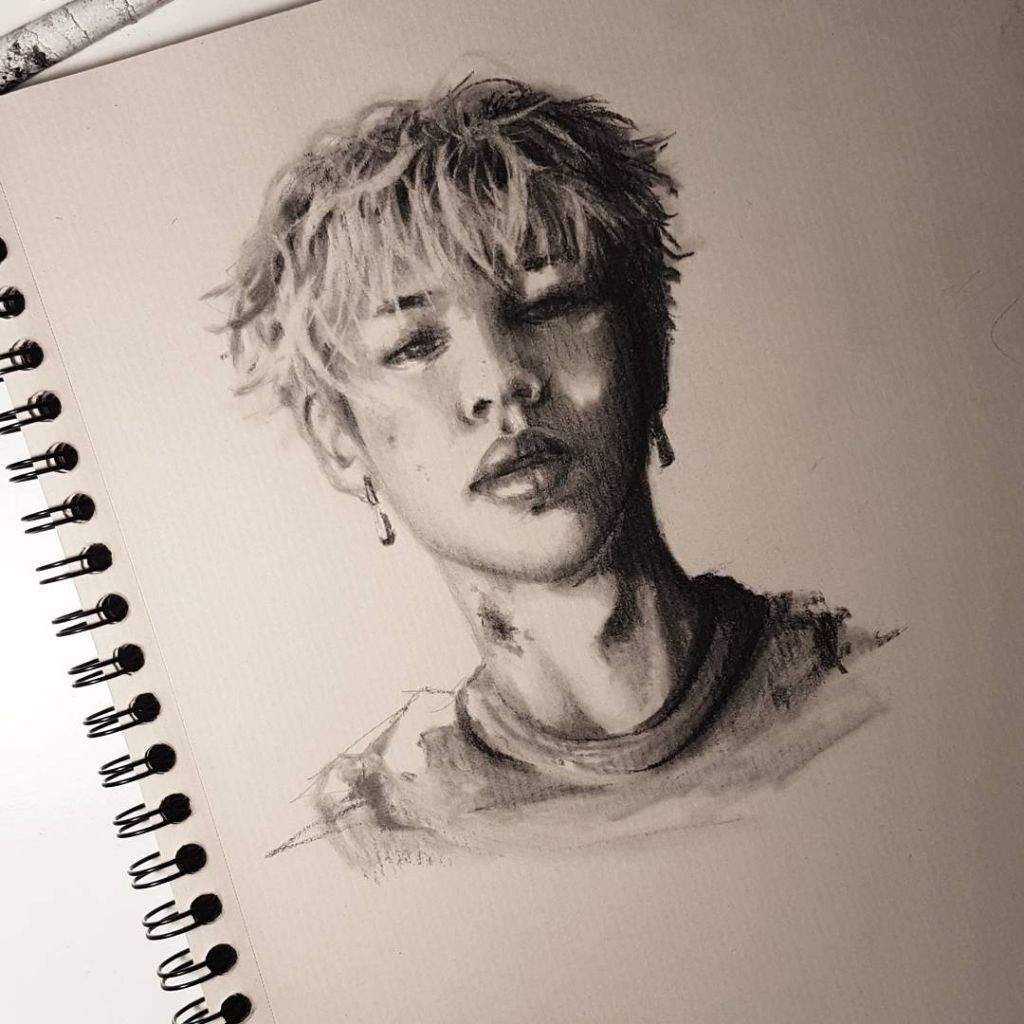 Charcoal sketch jimin