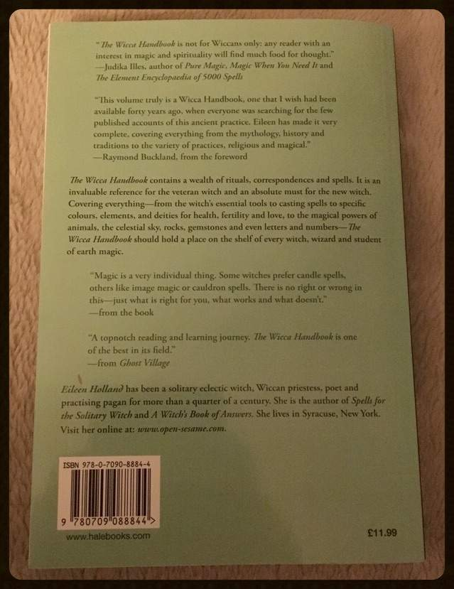 My book Review:The wicca handbook by eileen holland