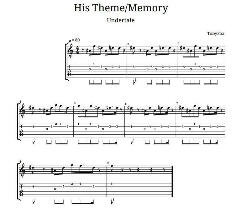 Undertale Theme Guitar
