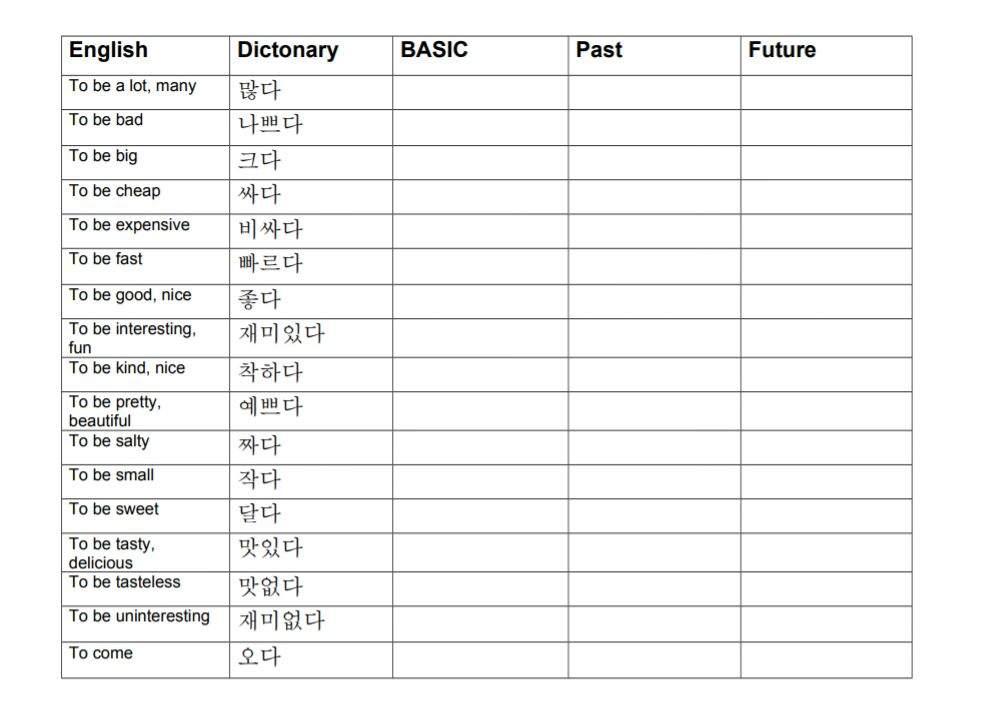 Conjugation Worksheet | Korean School Amino