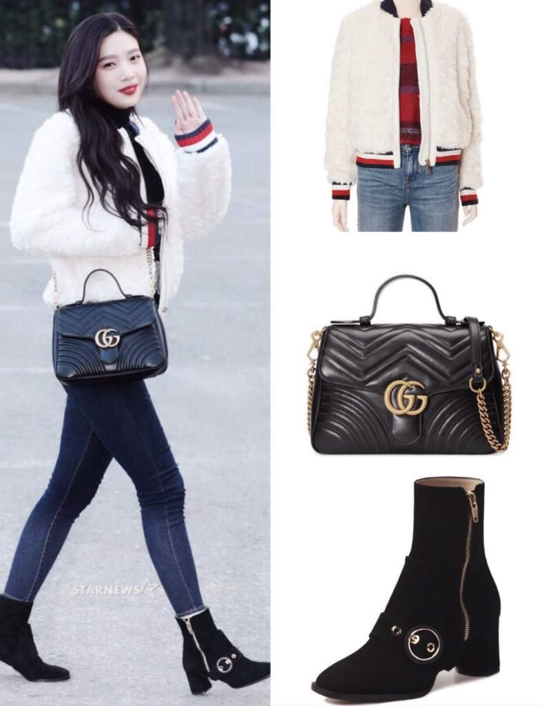 eb4e92354cc1 What   White Bomber Jacket   Black Small Gg Marmont 2.0 Matelasse Leather  Top Handle Bag   MAYRIN Ankle Boots