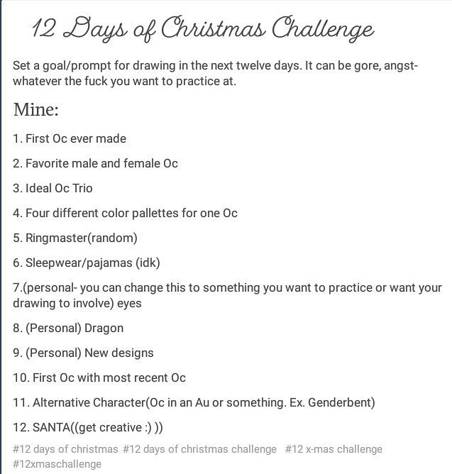 Christmas Challenge.12 Days Of Christmas Challenge Ocamino Amino