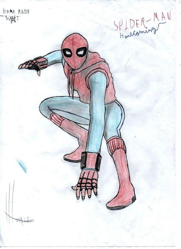 Desenho A Mão De Homem Aranha De Volta Ao Lar Desenhando Em