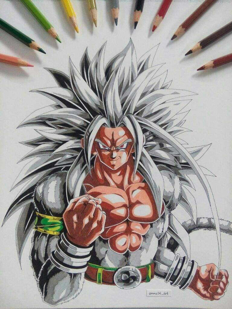 Ssj5 goku colored pencil drawing