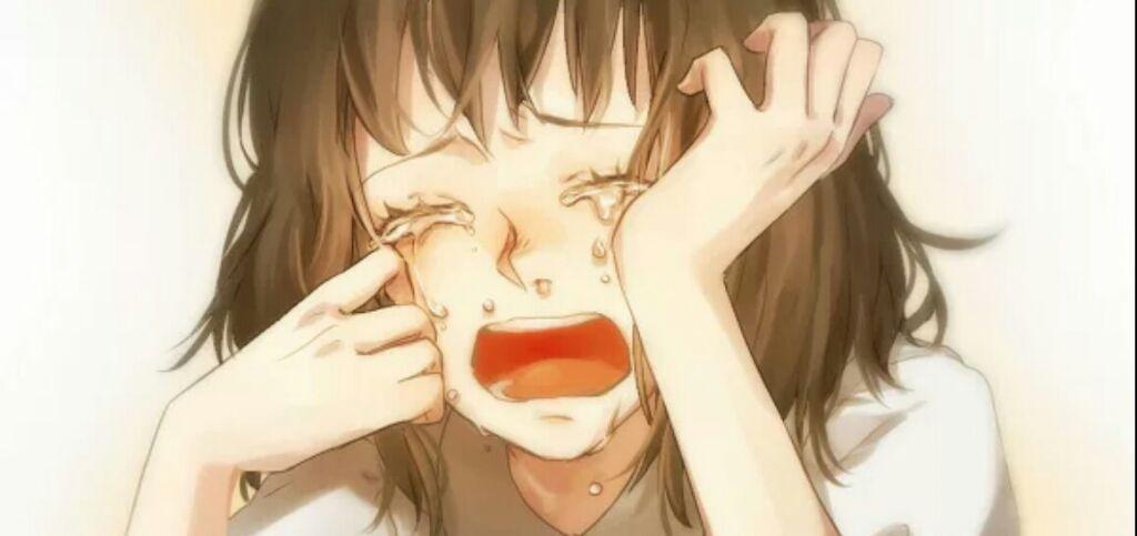 Картинки где девушка плачет аниме
