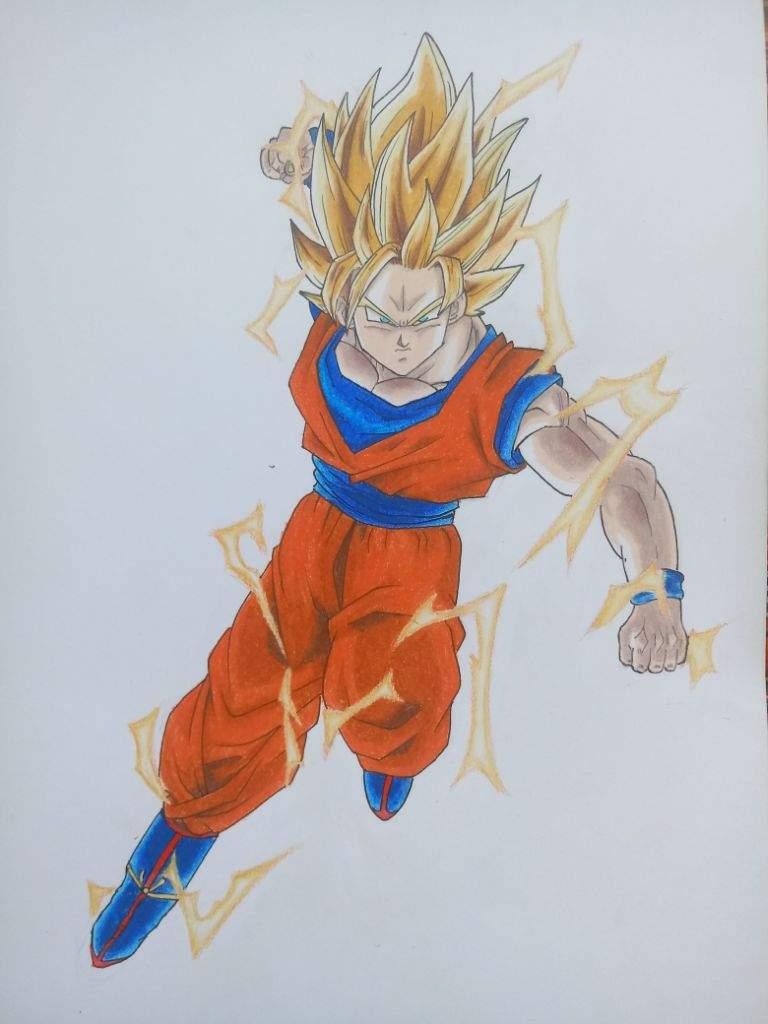 Gokú Ssj2 Con Lápices De Colores Dibujarte Amino