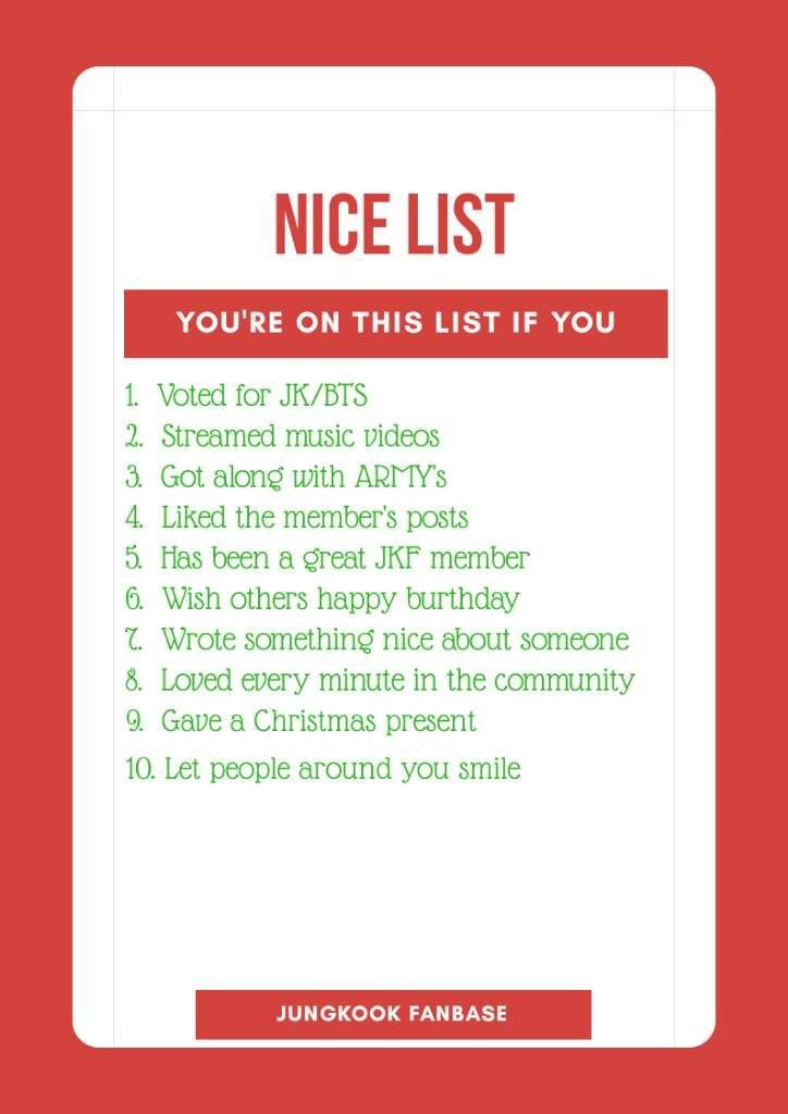 Naughty or nice list | Jungkook Fanbase🍪 Amino