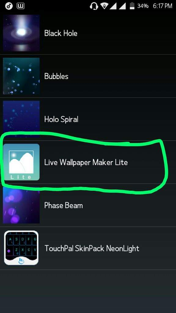 Then press 'Live Wallpaper Maker Lite'