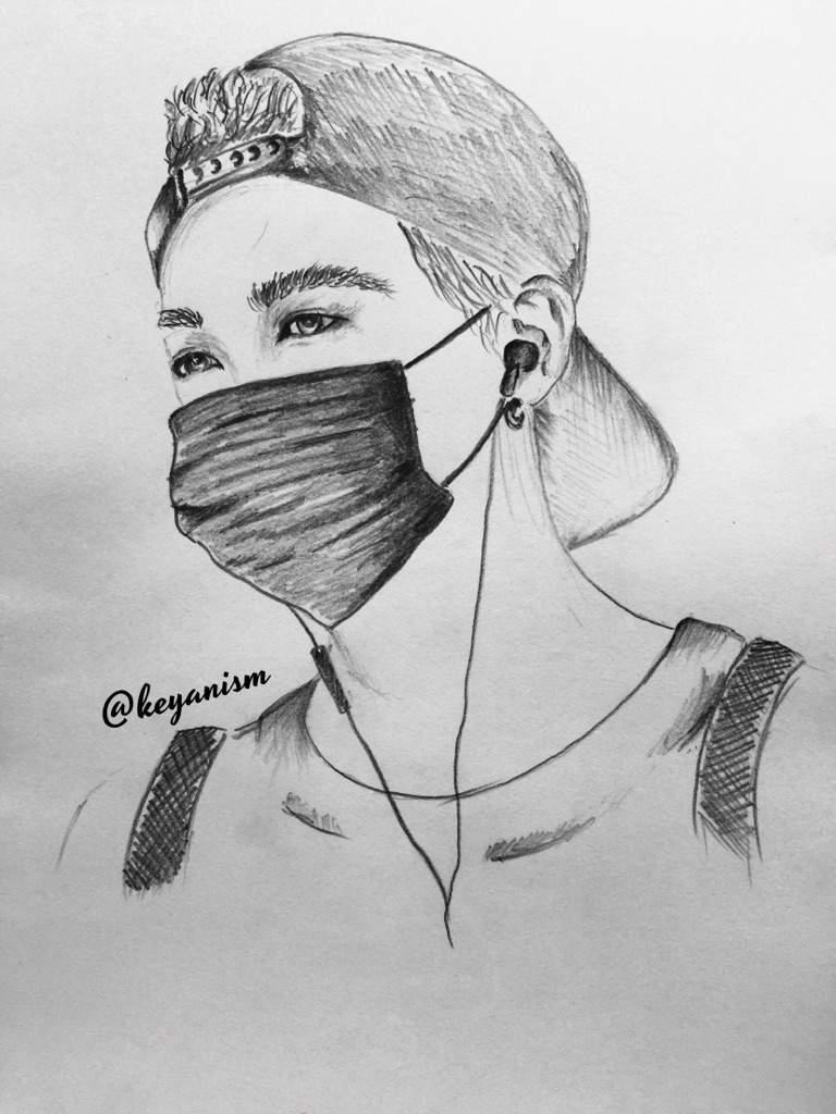 Suga pencil drawing bts wearing masks series pt 1