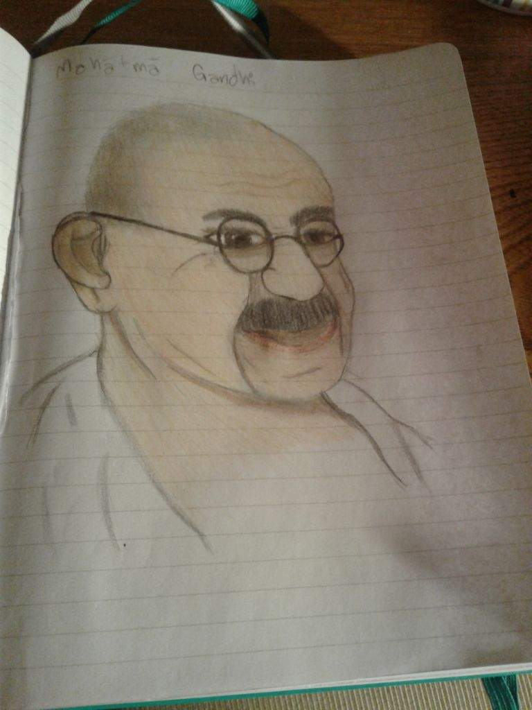 Heres the final part for my drawing of gandhi i used prang colored pencils and a mechanical pencil for it