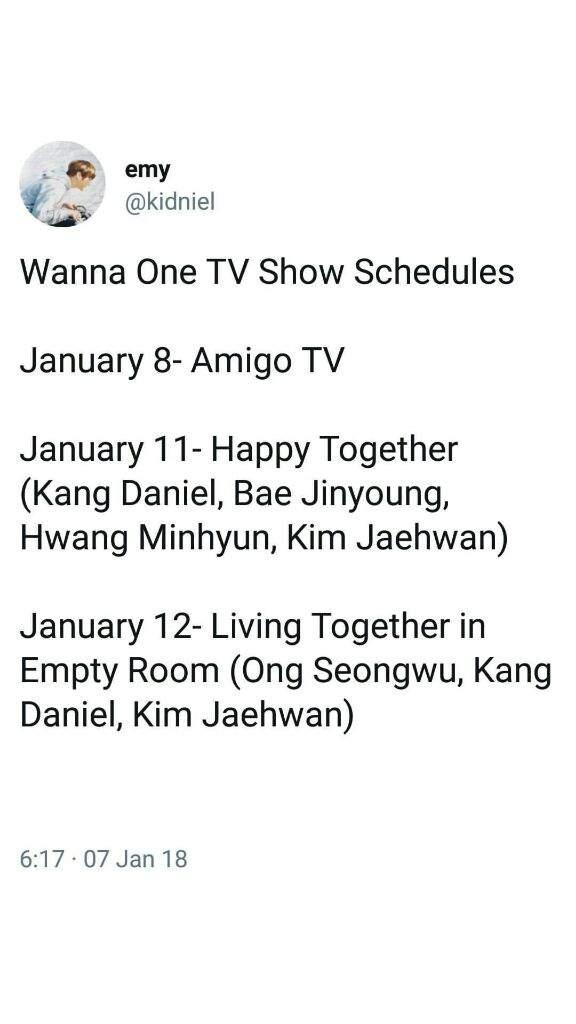 WannaOne TV show schedule | Wanna-One(워너원) Amino